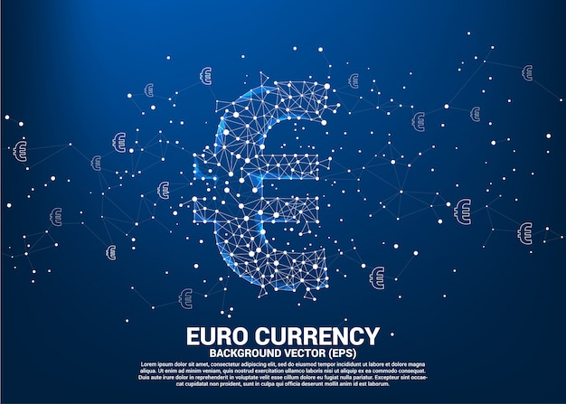 Vektorgeld-euro-währungssymbol vom polygonpunkt schließen linie an. konzept für europa finanzielle netzwerkverbindung.