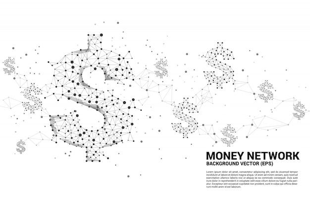 Vektorgelddollarikone vom polygonpunkt schließen linie an