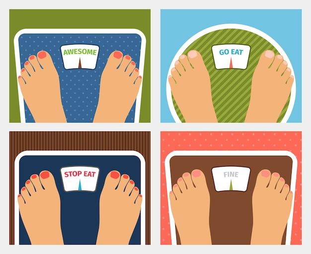 Vektorgewichtskontrolle. genial und gehen oder aufhören zu essen und gut, diät und fitness