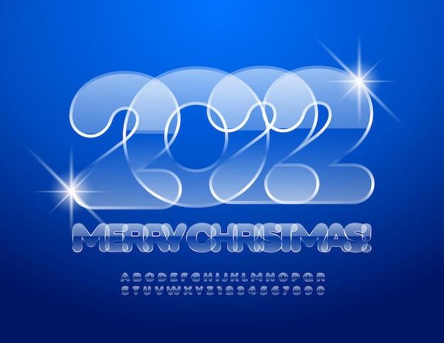 Vektorglas grußkarte frohe weihnachten 2022 kalte alphabet buchstaben und zahlen set