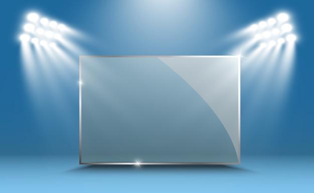 Vektorglasfahnen auf transparentem hintergrund. leerer transparenter glasrahmen. sauberer hintergrund.