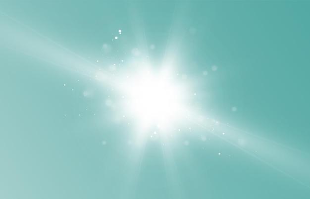 Vektorglühender lichteffekt mit goldenen strahlen und lens flares