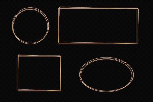 Vektorgoldrahmen mit lichteffekten. glänzendes rechteckbanner. getrennt auf schwarzem transparentem hintergrund. vektorillustration, eps 10.