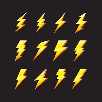 Vektorgrafik des flachen donners und der blitzbeleuchtung der blitzsymbole