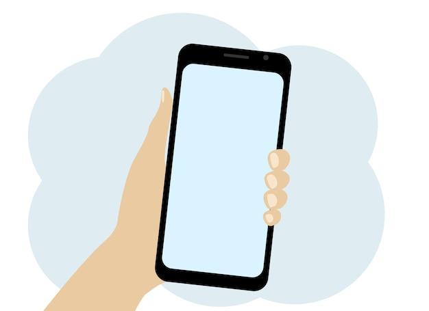 Vektorgrafik einer hand, die ein mobiltelefon hält. platz für text