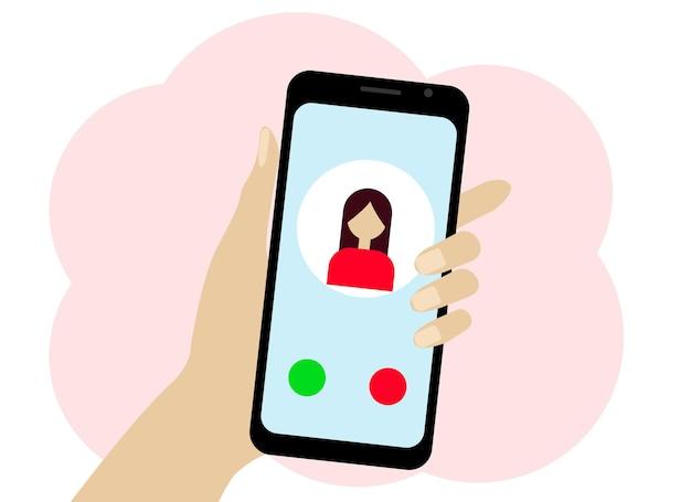 Vektorgrafik einer hand mit einem handy. auf dem telefon befindet sich ein frauensymbol. chat oder online-anruf