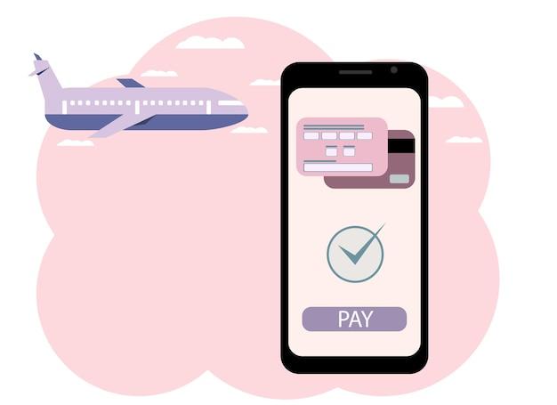 Vektorgrafik einer hand mit einem telefon. online-kauf eines flugtickets, zahlung mit karte.