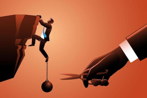 Vektorgrafik eines geschäftsmannes, der auf seil klettert, während eine riesige hand seine lasten mit einer schere schneidet