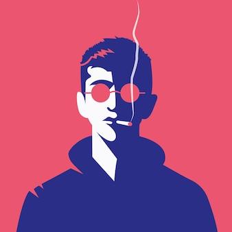 Vektorgrafik eines mannes, der eine hoodiejacke in einem trendigen stil trägt, raucht und eine brille trägt wearing