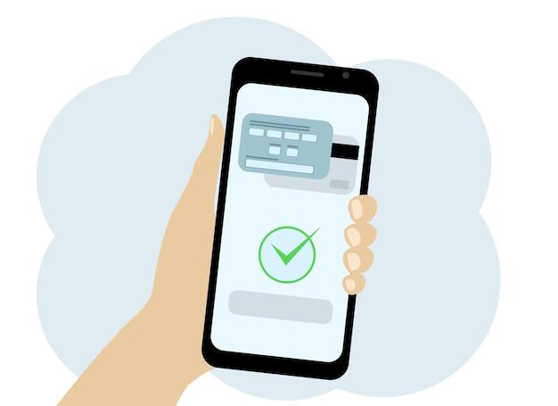 Vektorgrafik eines mobiltelefons in der hand, in dem die kartenzahlung bestätigt wird
