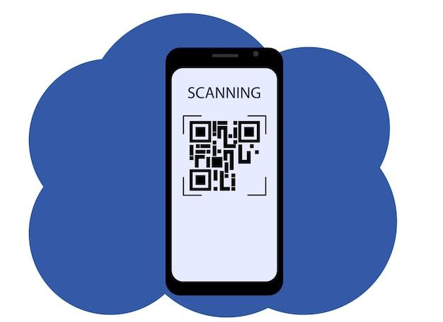Vektorgrafik eines mobiltelefons mit einem bild auf dem bildschirm eines qr-codes. scannen oder generieren