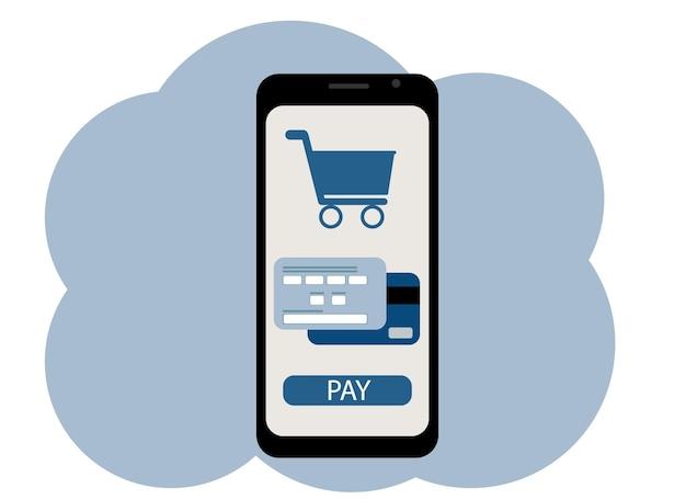 Vektorgrafik eines mobiltelefons. online-shopping auf dem bildschirm. warenkorb, kreditkarte und checkout-button abgebildet