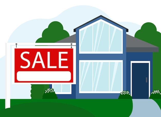 Vektorgrafik eines verkaufs eines großen wohnhauses neben einem schild mit dem text verkauf
