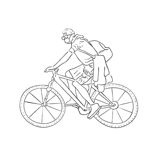 Vektorgrafik, isolierter mann kurier in schutzmaske, der ein fahrrad in schwarz-weiß-farben fährt, umriss original handgemalte zeichnung