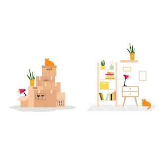 Vektorgrafik mit umzugskartons aus papier und ausgepackten dingen an einem neuen ort.