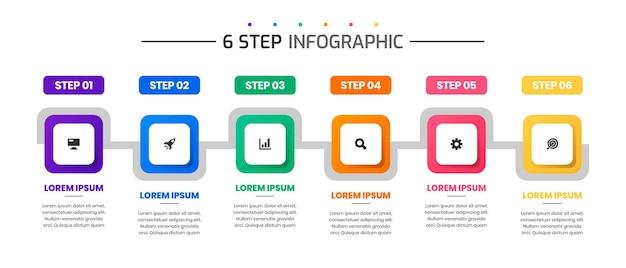 Vektorgrafik von designvorlagen für infografikelemente mit symbolen und 6 schritten