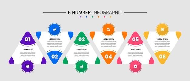 Vektorgrafik von designvorlagen für infografikelemente mit symbolen und 6 zahlen