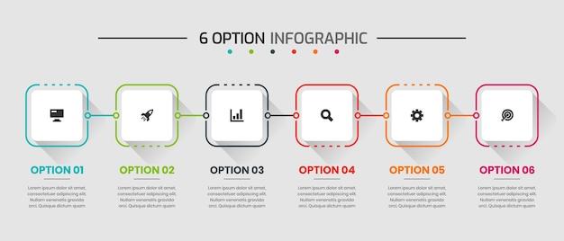 Vektorgrafik von infografik-element-design-vorlagen mit symbolen und 6 optionen