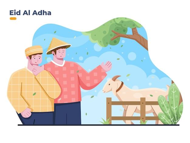 Vektorgrafik von muslimischen menschen, die opfertiere von bauern kaufen, um eid al adha . zu feiern