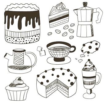 Vektorgrafik zeichnen mit dessertkuchen gebäck tasse tee und kaffee tee- und kaffeeset