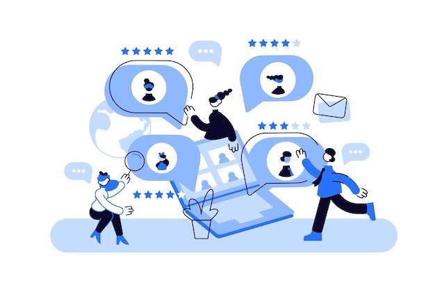 Vektorgrafiken der mitarbeiter, die kommunizieren