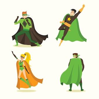 Vektorgrafiken im flachen design von weiblichen und männlichen superhelden im lustigen comic-kostüm