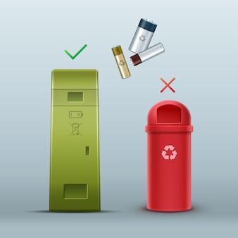 Vektorgrüne batterie-papierkorb für die müllsortierung vorderansicht