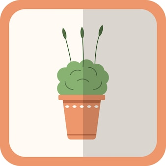 Vektorgrüne flache pflanze im topf. einfache blumenikone mit schatten. dekoratives element der karikaturgartenarbeit für design, spiel, konzepte.