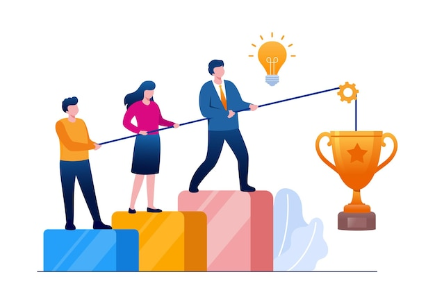 Vektorgruppe des geschäfts. achievement-trophäe und belohnung. teamarbeit, vektor, illustration