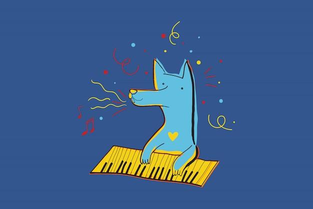 Vektorgrußkarte für die partei mit dem hund, der klavier spielt