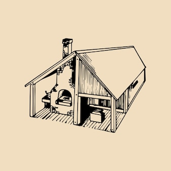 Vektorhand gezeichnete detaillierte illustration des schmiedewerkstatthauses. wird für das retro-hufschmiedelogo oder -etikett verwendet.