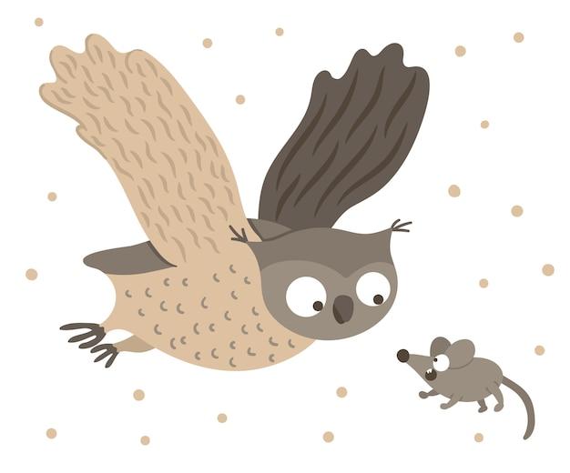 Vektorhand gezeichnete flache eule, die mit ausgebreiteten flügeln für ängstliche maus fliegt. lustige jagdszene mit waldvogel. niedliche waldtieristische illustration für druck, briefpapier