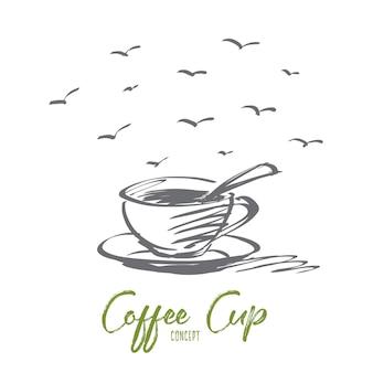 Vektorhand gezeichnete konzeptskizze der duftenden vollen kaffeetasse mit löffel innen
