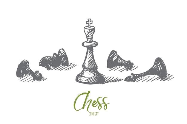 Vektorhand gezeichnete konzeptskizze von gepeitschten schachfiguren und stehendem könig in der mitte mit beschriftung