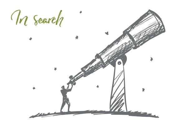 Vektorhand gezeichnete suchkonzeptskizze mit dem mann, der durch das riesige teleskop am himmel steht und schaut