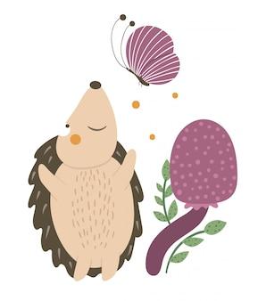 Vektorhand gezeichneter flacher igel, der einen schmetterling nahe lila pilz fängt. lustige herbstszene mit stacheligem tier, das spaß hat. niedliche animalische waldillustration