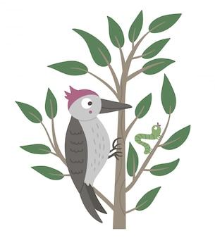 Vektorhand gezeichneter flacher specht, der auf dem baum sitzt und ihn pickt. lustige szene mit waldvogel. niedlicher wald ornithologischer illustrationsdruck, briefpapier