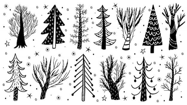 Vektorhand gezeichneter waldbaum-wintersatz. elemente kiefer, fichte, baum.