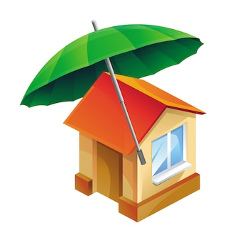 Vektorhaus und regenschirm - versicherungskonzept