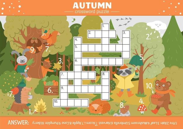 Vektorherbstsaison-kreuzworträtsel für kinder. einfaches quiz mit herbstlichen waldobjekten für kinder. pädagogische aktivität mit süßen lustigen waldtieren
