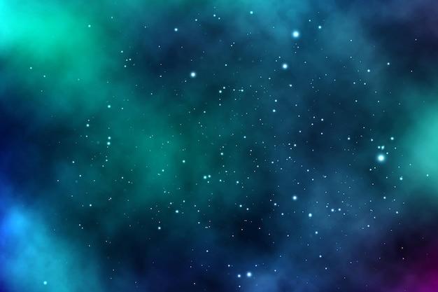 Vektorhintergrund eines unendlichen raums mit sternen, galaxien, nebelflecken. helle ölflecken und flecken mit weißen punkten