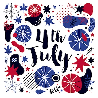 Vektorhintergrund mit abstrakten elementen für den 4. juli