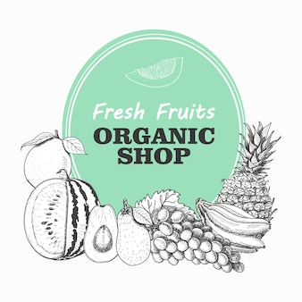 Vektorhintergrund mit früchten