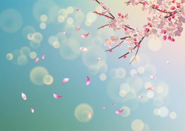 Vektorhintergrund mit frühlingskirschblüte. sakura-zweig im frühling mit fallenden blütenblättern