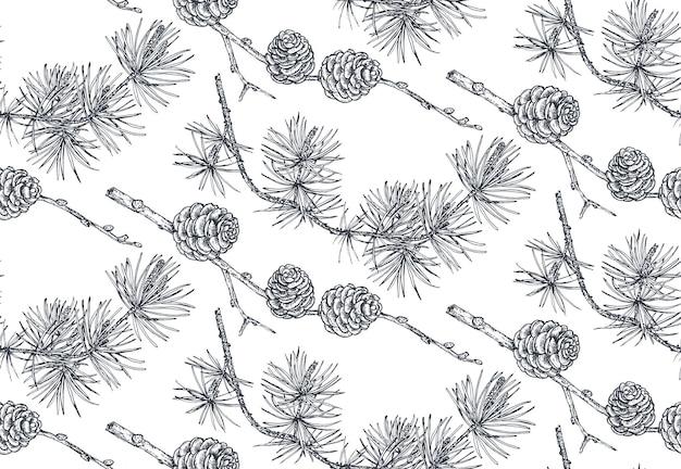Vektorhintergrund mit hand gezeichneten nadelbäumen im skizzenstil nahtloses muster