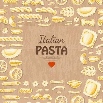 Vektorhintergrund mit italienischen teigwaren