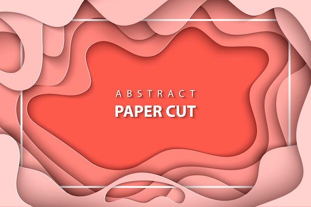 Vektorhintergrund mit korallenrotem tendenzpapierschnitt