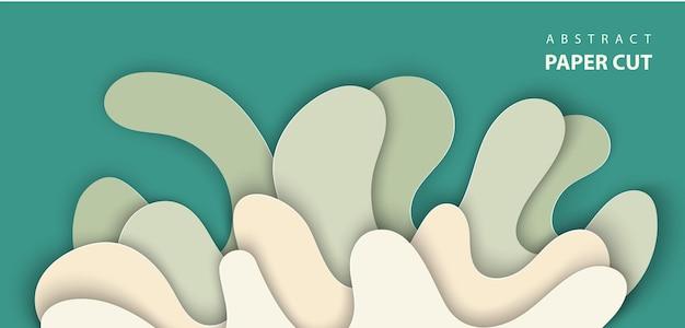 Vektorhintergrund mit spritzwasserpapierschnittformen in der grünen farbe 3d abstrakter papierkunststil