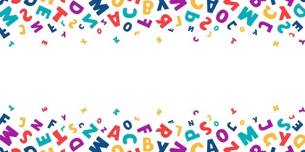 Vektorhorizontale fahne mit hellen bunten buchstaben fliegen auf weißem hintergrund mit platz für text