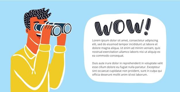 Vektorhorizontales banner mit lustiger, süßer, farbenfroher, lustiger illustration eines geschäftsmannes, der durch ein fernglas schaut, den horizont nach neuen marketingmöglichkeiten absucht oder die konkurrenz ausspioniert